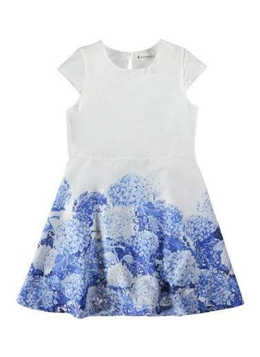 Sardunya Desenli Elbise-Asymmetry
